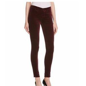 J brand velveteen deep mulberry skinny jeans